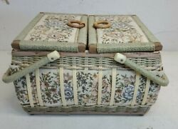 Azar Vintage Woven Wicker Sewing Basket Box Tapestry Floral Large