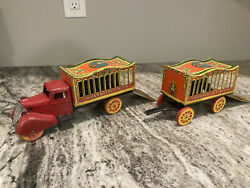 Vintage Wyandotte Circus Truck And Pup Trailer Pressed Steel Toys Marx
