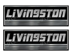 Two Livingston Custom Stickers - 10 Inch Long Set. Remastered Name Plate