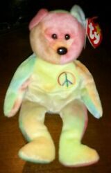 Beanie Baby Peace Bear 1996 With Error Tag Retired Rare Vintage And 2 Inch Worms