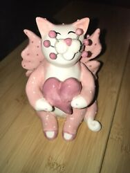 Amy Lacombe Whimsiclay Ceramic Pink Heart Angel Cat Figurine Valentine's Day
