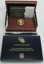 2014 Gold Kennedy 50th Anniversary High Relief Coin Box And Coa