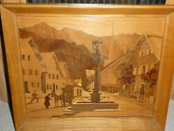 Buchschmid And Gretaux Wood Inlay Marquetry Picture St. Florianand039s Square And Alps