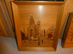 Buchschmid And Gretaux Wood Inlay Marquetry Picture Square W Church And Statue
