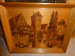 Buchschmid And Gretaux Wood Inlay Marquetry Picture German Village On The Rhine