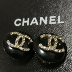 Auth Rhinestone Cc Logo Round Clip On Earrings Black 96a Used From Japan
