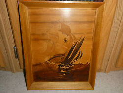 Buchschmid And Gretaux Wood Inlay Marquetry Picture Two Ships Battling At Sea