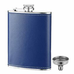 Fyl 8 Oz Leak Proof Blue Leather Cover Flask For Liquor And Funnel 18/8 Stain...