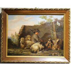 Antique 19th Original Impressionism Oil Painting On Canvas Shepherd And Goats