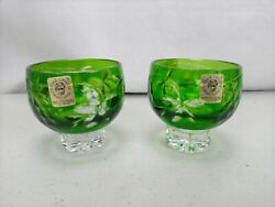 2 Caesar Crystal Cordial/shot Glass Green Cut To Clear