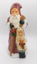 Teena Flanner Father Christmas W/boy Midwest Of Cannon Falls Figurine Of 10
