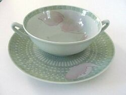 Authentic 8 Hermes France Les Pivoines Green Peony China Soup And Saucer Plate Set