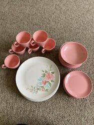 24pc Bostonware Melmac Dishes Pink And Floral Mid-century