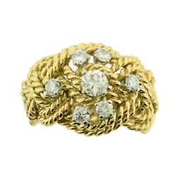 Vintage Wide Band .45ctw Diamond Braided Rope French Estate Ring 18k Gold