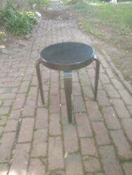 Rare Authentic Mid Century Thonet Stool With Bentwood Legs