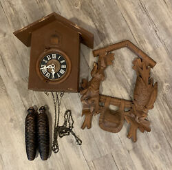 Vintage West Germany Cuckoo Clock- For Parts Or Repair W/ Pine Cone Weights