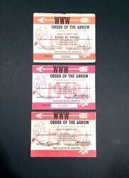 Vintage 1967-68-69 Boy Scouts Order Of The Arrow Owasippe Lodge Membership Cards