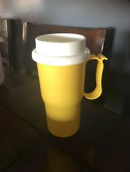 Tupperware Yellow Travel Commuter Coffee Mug With Lid Free Shipping