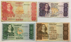 South Africa 50 Rand Vg, 20 F+, 10 Vf+ And 5 Rand Vg+ Old Banknotes. Zar