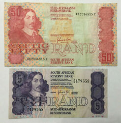 South Africa 50 Rand F And 5 Rand Vg+ Old Banknotes. Zar