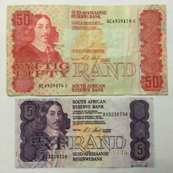 South Africa 50 Rand F And 5 Rand Vg Old Banknotes. Zar