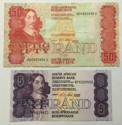 South Africa 50 Rand F+ And 5 Rand Vf+ Old Banknotes. Zar