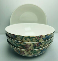 """Royal Doulton Jacobean Cereal All Purpose Bowls Set 4 Floral Everyday 6"""" Dia"""
