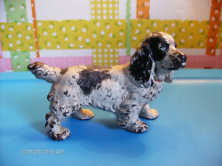 Antique Cast Iron Figurine Black And White Spaniel Dog With Red Ribbon