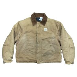 90s Sun Faded Vintage Work Usa Canvas Xl Brown Zip Up Corduroy Jacket