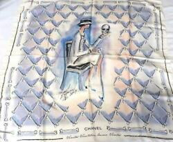 Scarf Stole Karl Lagerfeld Signed White Skull Silk New Limited Rare 34 In