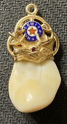 Vintage 14k Yellow Gold Bpoe Elks Tooth With One Ruby Pendant