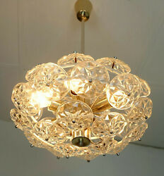 Gorgeous Mid Century Sputnik Hanging Lamp With 32 Faceted Glass Prisms