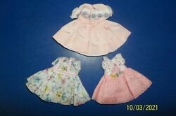 Three Adorable Antique/vintage Small Doll Dresses-late 1940's-early 1950's
