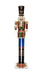 Giant Nutcracker Life Size With Lcd Life Eyes And Sound Yard Sculpture 8 Ft New