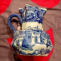 Blue And White Victoria Ware Flow Blue Ironstone Pitcher Marked Lion Crest Antique
