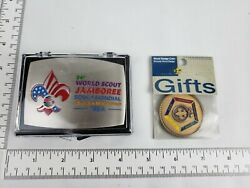 Bundle Of 2 - Boy Scout 2019 World Jamboree Belt Buckle And Wood Badge Coin