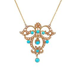 Victorian 14k Gold Seed Pearl And Persian Turquoise Pendant Necklace