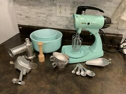 Vntg Turquoise Teal Sunbeam Mixmaster 12 Spd Stand Mixer Working And Meat Grinder
