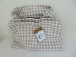 Pottery Barn Gingham Basket Liner Tan White Check Farmhouse New One Size