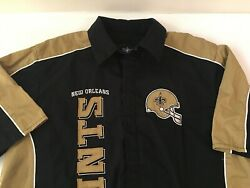 New Orleans Saints Shirt Mens Xl Embroidered Football Casual Snap Front Nfl