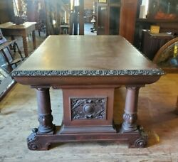 Large Victorian Carved Mahogany Library Table