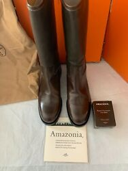 Hermes Vintage Riding Boots In Brown Leather And Rubber Nib Sz 9 Amazonia