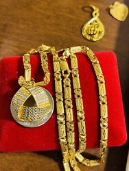 22k 916 Fine Yellow Real Saudi Gold 18andrdquo Long Womenandrsquos Triangle Necklace 4mm 16.5g