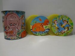 Vintage 1960s Folgers Jungle Zoo Animal Coffee Can Tin W/ 2 Special Lids 7 X 6