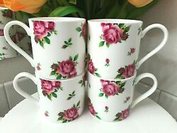 Royal Albert New Country Roses Modern Casual Coffee Mugs Tea Cups White Set Of 4