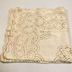 Vintage Tablecloth Lace Floral Off White Square 26x26 Traditional Classic Boho