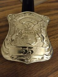 Antique Obsolete Detroit Michigan Police Badge Classic Style Low 55