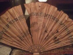 Antique 17th Century Large Chinese Dragon Paper And Wood Wall Fan