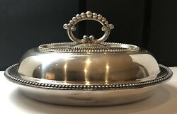 Marked STERLING SILVER PLATE OVAL BEADED COVERED VEGETABLE DISH