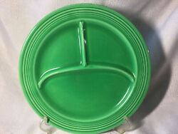 """Vintage Fiesta 10"""" Grill Compartment Divided Plate Green Fiestaware 1936"""
